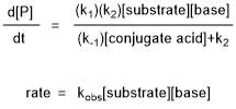The rate law and observed rate for the E1cB-elimination mechanism in the previous example where the base is ethoxide.
