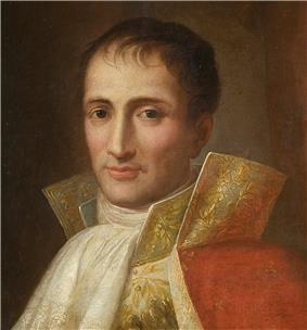 Painting of a round-eyed man in court dress with lots of gold lace. He wears a white frilled shirt front with an exaggerated high collar and a red cloak.