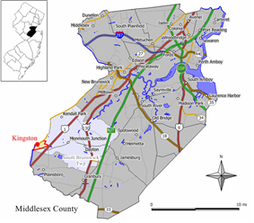 Map of Kingston showing section in Middlesex County. Inset: Location of Middlesex County in New Jersey.