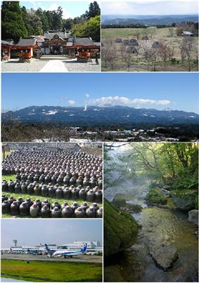 From top left: Kirishima shrine, Uenohara site, Mount Kirishima from Maruoka, Producing Black Vinegar at Fukuyama, Ryokukeitouen of Eino-o Onsen, Kagoshima Airport.