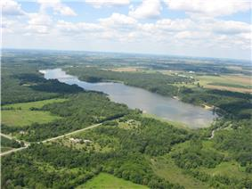 Aerial view of Kiser Lake, a major feature of the township
