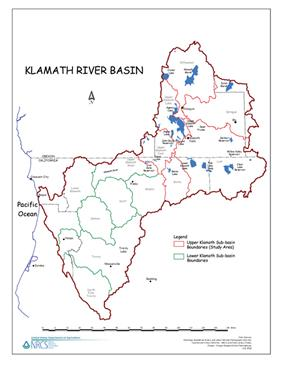 Map of the watersheds within the Klamath Basin