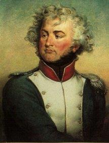 Painting of a curly-haired man with a cleft chin. He wears a blue military uniform with a white front.