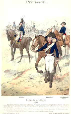 Prussian 1805 horse artillery in bicorne hats, blue coats, white trousers, and black boots