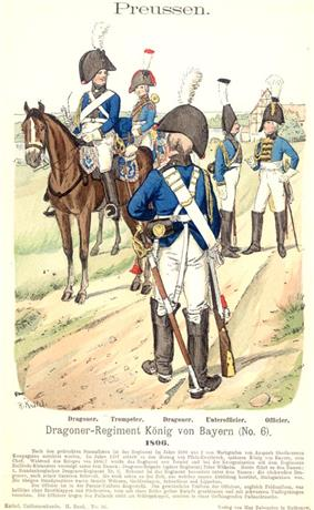 Print of 1806 Prussian King of Bavaria Dragoons Nr. 1 in light blue coat, white trousers, and boots