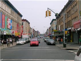 Knickerbocker Avenue, a main shopping street south of Maria Hernandez Park
