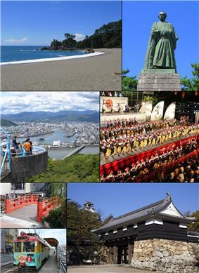 From top left: Katsurahama, Statue of Sakamoto Ryoma, View of Kochi from Mt. Godai, Yosakoi Festival, Harimayabashi, Tosa Electric Railway, Kochi Castle