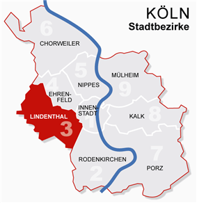 Location of Lindenthal shown in red