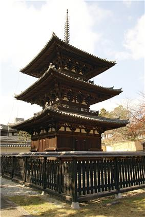 Three-storied wooden pagoda.