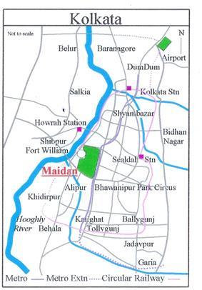 Location of Maidan in Kolkata map