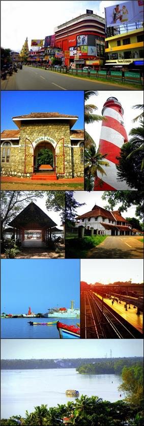 From top clockwise: RP Mall in Downtown Kollam, Lighthouse in Tangasseri, British Residency in Asramam, Kollam Junction railway station and Kollam MEMU Shed, Aerial view of Ashtamudi Lake, Kollam Port, Asramam Adventure Park, Jalakeli Kendram near Kollam Beach
