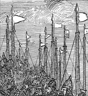 Black and white drawing of a snapshot showing shipmasts with flags and warriors marching below.