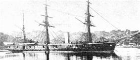 Three-masted armoured warship.