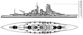 an American intelligence drawing of Kongō from the starboard side, giving particular shaded emphasis to her main and secondary guns
