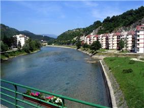 Konjic, view of Neretva from the bridge