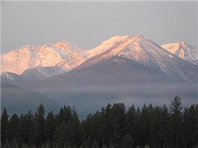 Snow-capped mountains in Kootenai National Forest.