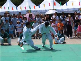 Martial artists presenting taekkyeon for Hi! Seoul Festival on April 28, 2007