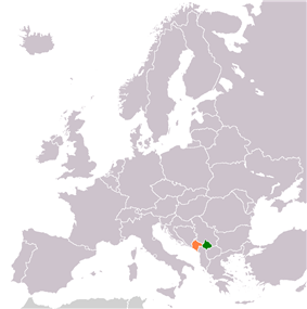Map indicating locations of Kosovo and Montenegro