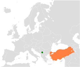 Map indicating locations of Kosovo and Turkey
