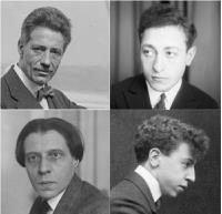 group of four photographs of men's heads and shoulders, all taken in the early part of the twentieth century