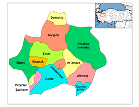 Location of Çavdarhisar within Turkey.
