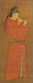 Portrait of a woman in disguise of a man wearing a red round-necked robe of the nobility and a cap of black gauze. A yokobue transverse flute is tucked in her obi and she is watching the fingers of both of her hands.