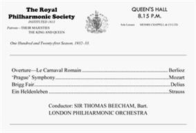 concert programme, listing Berlioz's Overture Roman Carnival; Mozart's Prague Symphony; Delius's Brigg Fair and Richard Strauss's Ein Heldenleben