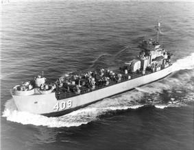 USS LSM(R)-409, of the LSM(R)-401 class, underway off San Diego, California on 25 February 1954