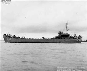 USS Lincoln County (LST-898) off Mare Island Naval Shipyard, 15 March 1957