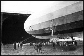 Blimp with the letters L3 close to the hanger