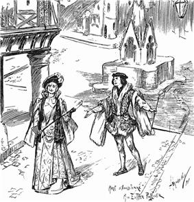 magazine sketch of an operatic production, showing a man and a woman among mediaeval scenery