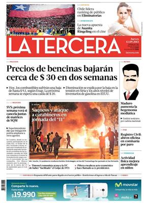 Front page of La Tercera's 12 September 2013 edition.