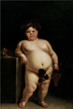 A painting of a dark haired pink cheeked obese nude young female leaning against a table. She is holding grapes and grape leaves in her left hand which cover her genitalia.