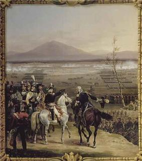Painting of a battle with the generals in the foreground while neat lines of soldiers march into the distance.