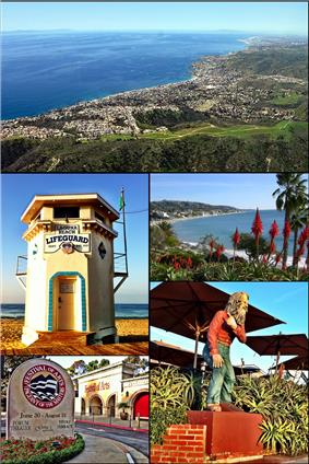 Images from top, left to right: Laguna Beach coastline, Lifeguard Tower, view from Heisler Park, Festival of the Arts, and statue of Town Greeter Eiler Larsen.