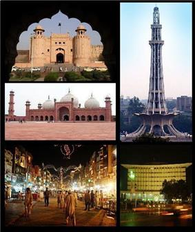 Clockwise from left: Lahore Fort, Minar e Pakistan, Wapda House, Lahore Food Street and Badshahi Mosque