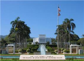 The Laie Hawaii Temple, the fifth oldest LDS Church temple worldwide