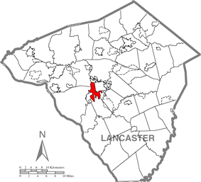 Map of Lancaster County highlighting Lancaster Township
