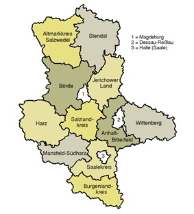 Map of Saxony-Anhalt showing the current district boundaries.