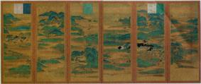 Landscape with buildings and mountains on a six-section folding screen