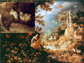 Painting of various animals and people in a forest, including a whitish dodo