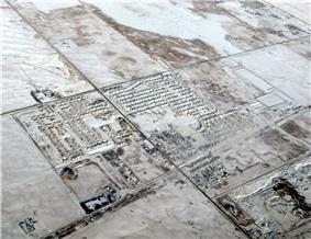 Aerial view of Langdon in winter