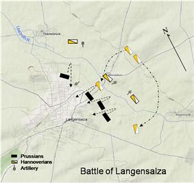 Regimental movement at Langensalza, 1866.