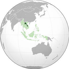 Location of Laos (dark green) in ASEAN (light green) and Asia