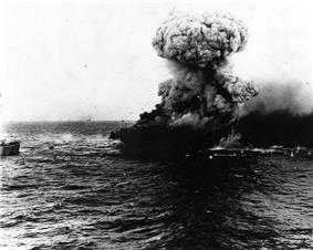 An explosion aboard USS Lexington