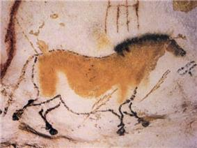 Cave painting of a dun horse.
