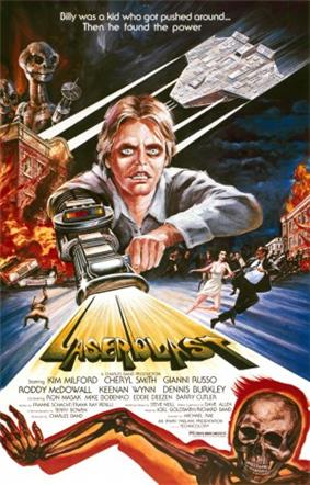 A film poster with a young man with a laser gun extended from his arm, shooting out the title