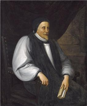 A solemn old white man clothed in Reformation-era clerical robes, seated and holding a book.