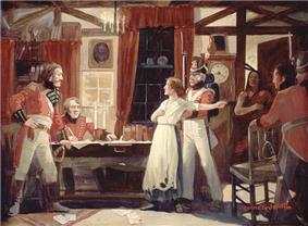 Painting of Laura Secord warning Lieutenant James Fitzgibbon of an impending American attack