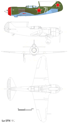 Orthographically projected diagram of the Lavochkin La-5.
